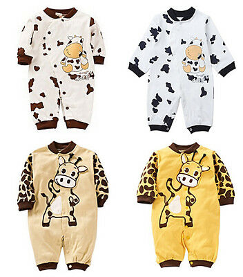 US STOCK Newborn Baby Boy Girl Cotton Romper Jumpsuit Outfit Long Sleeve Clothes