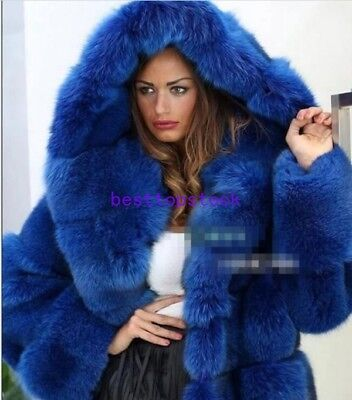 Real Hooded Full Mink Fox Rabbit Fur Coat Overcoat Jacket Outwear Clothes Parka
