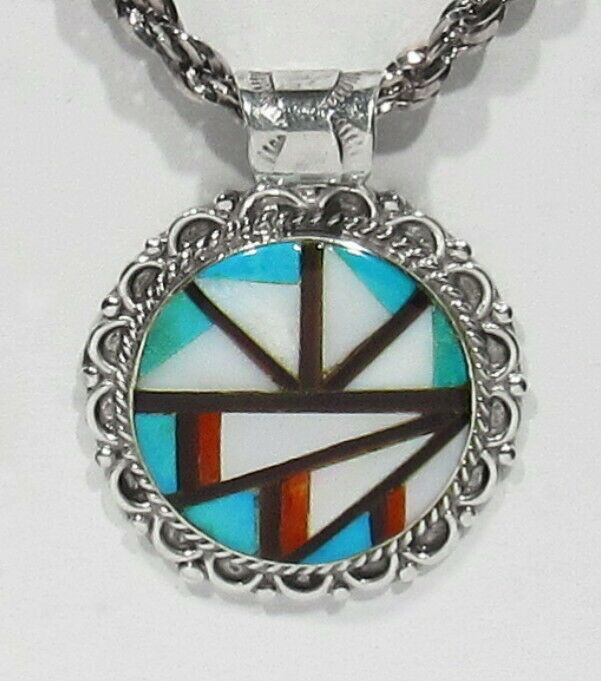 Big Vintage Signed Zuni Natural Turquoise Coral Mo Pearl Black Jet Inlay Pendant - $28.00
