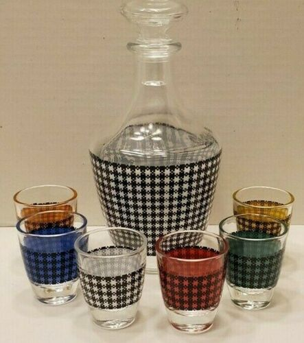 Liquor Decanter & 6 Shot Glasses in Multi-colored Gingham Made in France