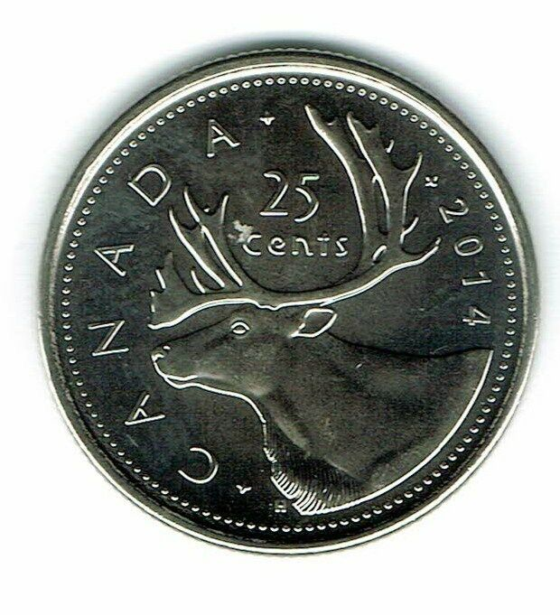 2014 Logo Canadian Brilliant Uncirculated Caribou Twenty Five Cent coin!