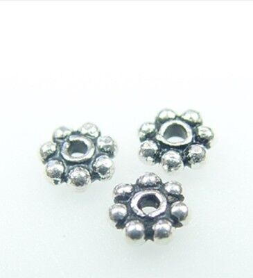 925 Sterling Silver Handcrafted Bali Daisy Spacer Bead 6mm 10 gram/ 33 pcs