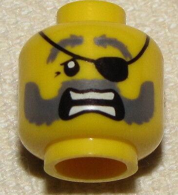 Lego Neu Minifigur Kopf Pirat mit Flecken auf Auge Grau Bart Schloss Gesicht