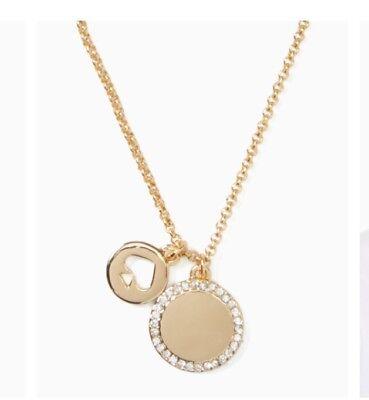 Kate Spade Spot The Spade Pave Charm Pendant Necklace Gold  K0022