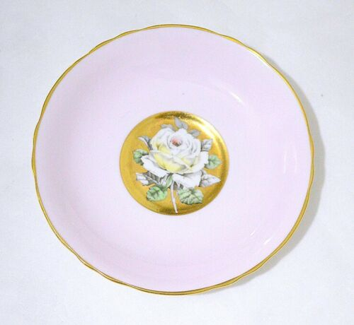 Paragon England White Rose on Pink Gold Background Saucer Only