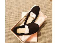 ASOS black ballerina flats suede size 5