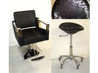 Salon furniture hair dresser chairs stools Brand New job lot patterned black