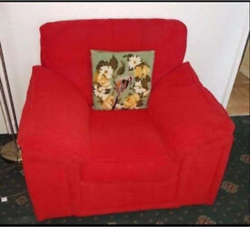 2 seater Sofa and armchair red (free coffee table)