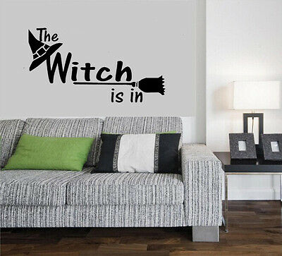 Halloween Witch hat Broom Wall Sticker Vinyl Home Decor Decal Mural DIY - Diy Witch Broom