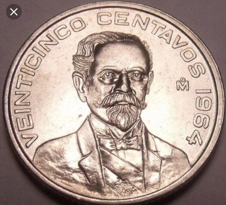 1964 VEINTICINCO 25 CENTAVOS coin snake MEXICO world foreign uncirculated BU