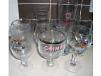 Lot of 15 rare and collectable promotional Belgian/Scottish beer glasses