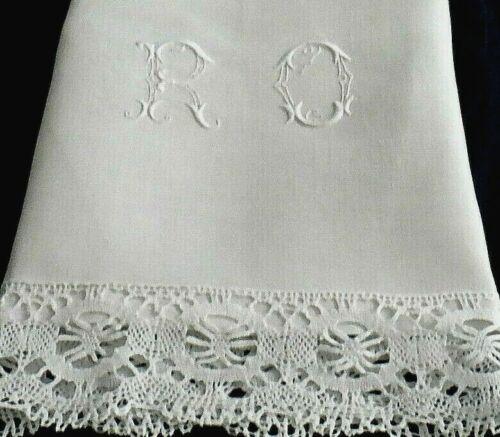 "Cluny Bobbin Lace on Linen Pillowcase 32""x18"" Ornate ""RO"" Monogram FINE Antique"