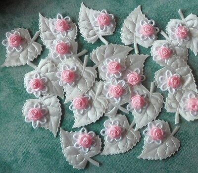 10 x Satin Appliques Leaf Roses Crafts for Cardmaking Scrapbooking Sewing