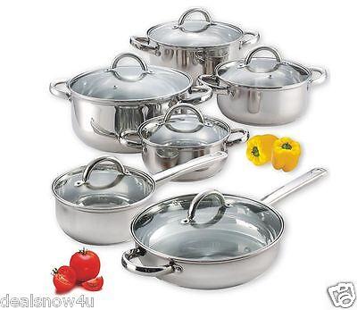 Chef 12 Piece Stainless Steel Cookware Set Pots Pans Lids Cook Kitchen Dinner