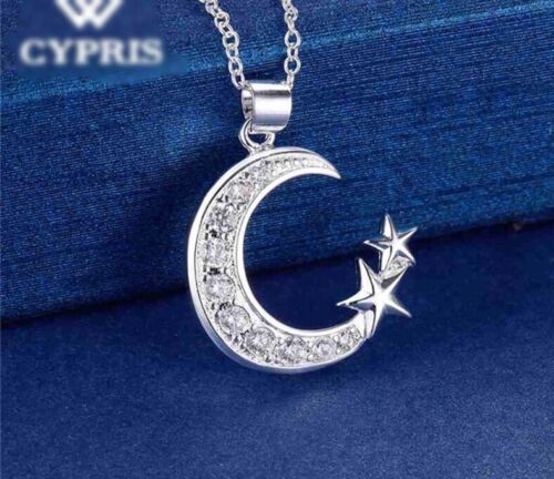 925 Sterling Silver Cubic CZ Crescent Moon And Star Pendant Necklace 18″ N16 Fashion Jewelry