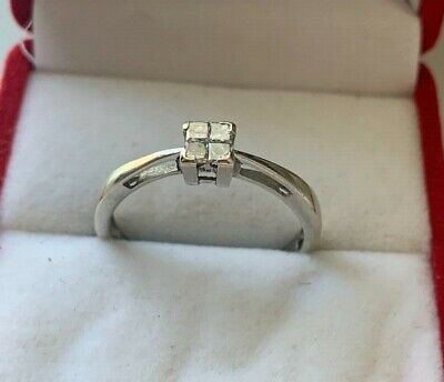9ct White Gold Diamond Princess Cut Engagement Ring Size H 1/2 UK Hallmarked