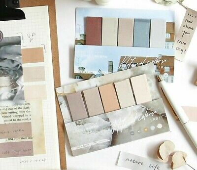 4 Designs 100pcslot Natural Paint Color Series Memo Pad Deco Sticky Notes Diary