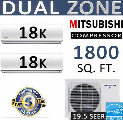 36,000 BTU Dual Zone Energy Star Ductless Mini Split Air Conditioner: 18000 x 2