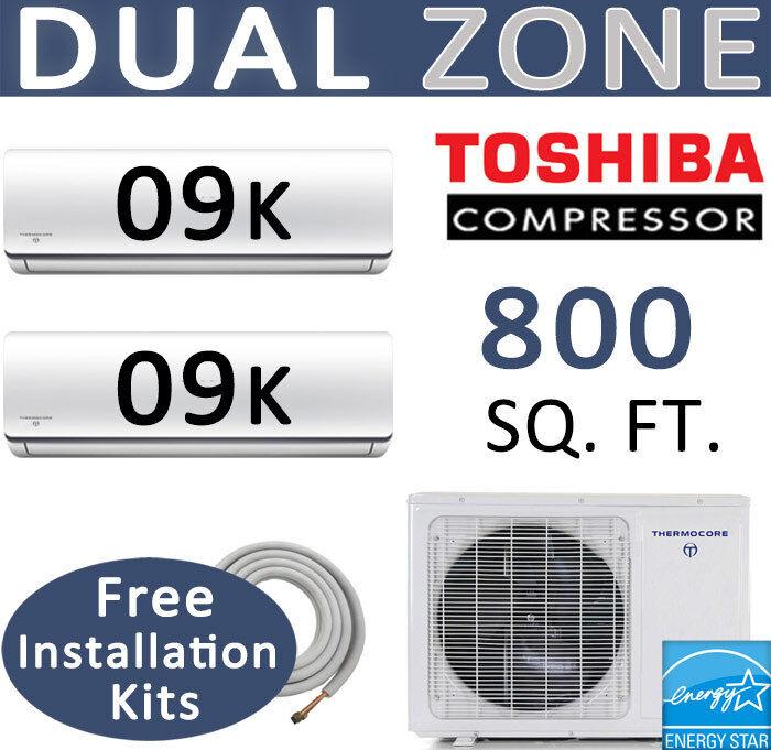 Energy Star Dual Zone Ductless Mini Split Air Conditioner Heat Pump 9000 Btu X 2