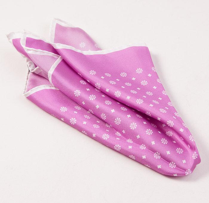 New $215 KITON NAPOLI Lilac Pink-White Floral Medallion Print Silk Pocket Square