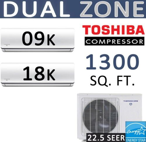 27000 Btu Dual Zone Ductless Mini Split Air Conditioner Heat Pump, 9000 + 18000