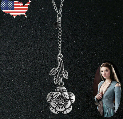 US Ship Game of Thrones Women Necklace Margaery Tyrell Leaf Jewerly Rose Flower