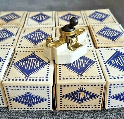 New Britmac Vintage Ceramic 1 Gang One Way Toggle Light Switch Porcelain Single