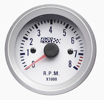 Sumex Brande 52mm Diameter 12V Car RPM Tachometer Gauge Race Dial - Satin Silver