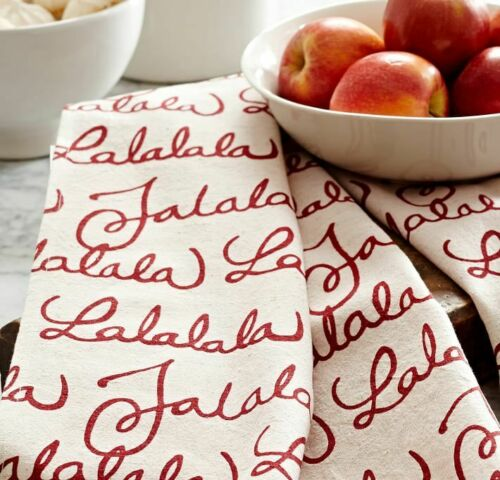 NWOT ONE POTTERY BARN Red & Ivory Christmas Fa La La Tea Towel/Bath Hand Towel