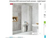 Brand New Shower Screen (Bathstore) Mirrored, Left Sided
