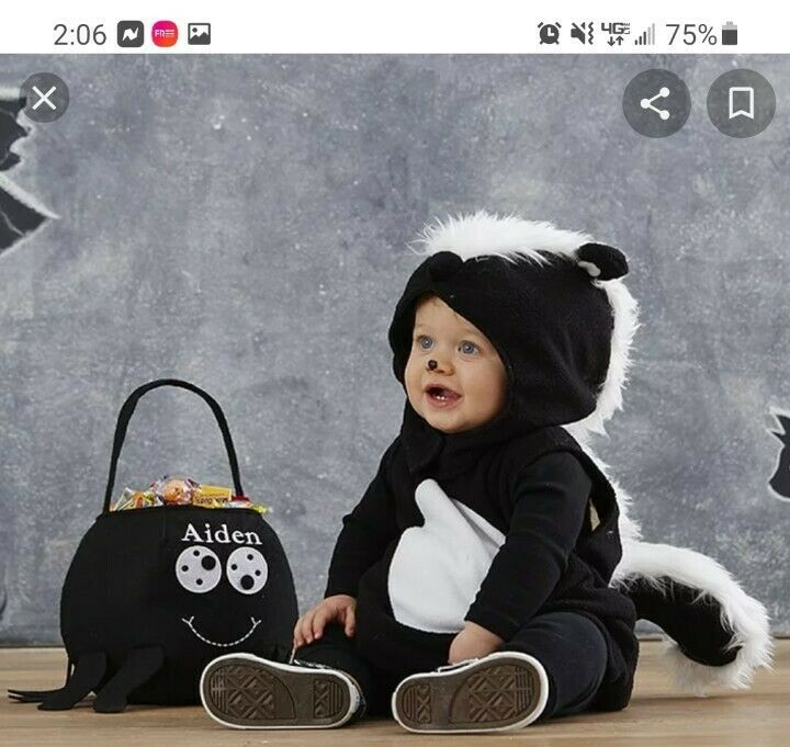 NEW in bag Pottery Barn Kids Baby Skunk Halloween Costume Size 12-24  mths