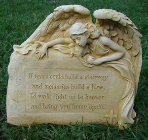 ANGEL TEARS MEMORIAL ROCK STONE HOME OR GARDEN STATUE ORNAMENT DECOR