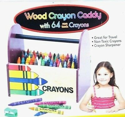 Wood crayon Caddy Box 64 Crayons NON Toxic Portable Wooden  and Crayons Sharpner - Non Toxic Crayons