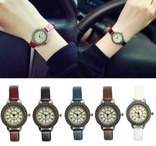 New Fashion Women Vintage Rome Small Dial Quartz Watch Leather Strap Wristwatch