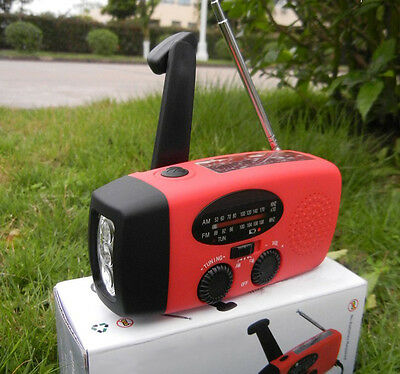 Wind up/Solar/Dynamo Powered FM/AM Radio With LED Flashlight & Phones Chargers