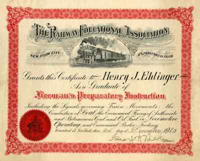 1925 Railway Educational Association Certificate
