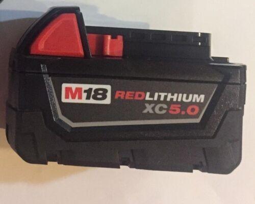 Genuine Milwaukee M18 XC 5 amp 18V Red Lithium Battery  48-11-1850  NEW