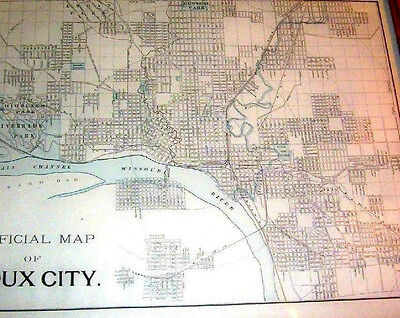 ANTIQUE CITY MAP OF SOUIX CITY IOWA  W/ RAILROADS, LEED'S ELECTRIC COMPANY - Map Of Party City