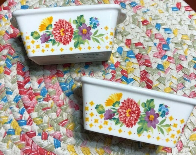 Pioneer Woman Blooming Bouquet Mini Loaf Stoneware Pans (2)