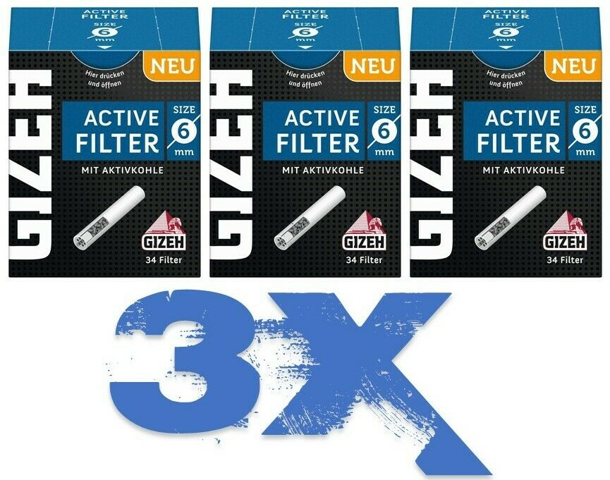 Gizeh Aktiv Active Filter 6mm Zigarettenfilter Aktivkohlefilter Joint Tips 3X
