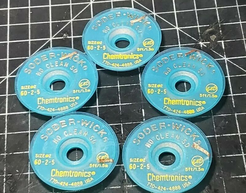 (5) Rolls Size #2 Chemtronics 60-2-5 No Clean SD Soder-Wick
