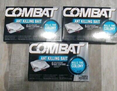 Combat Ant Killing Bait - 3 Boxes - 6 Stations Per Box (Indoor & Outdoor -
