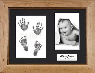 Neu Einzigartig Baby Taufe Geschenk Hand & Fußabdrücke Set Rustikal Rahmen