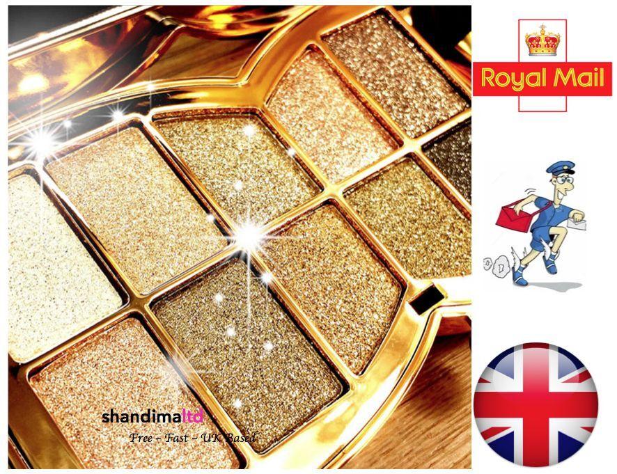 10 Colour Diamond Eyeshadow Eye Shadow Palette Makeup Cosmetic Brush Set UK