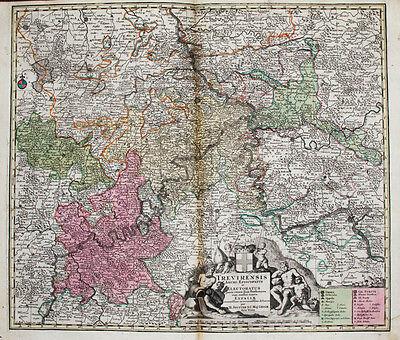 c1730 Rheinland-Pfalz Trier Kolorierte Kupferstich-Landkarte von Seutter