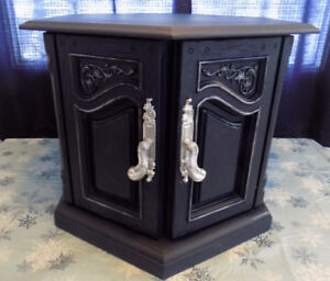 Vintage polygon shaped end table painted