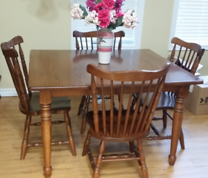 Handcrafted Solid Oak Table and Chair Set