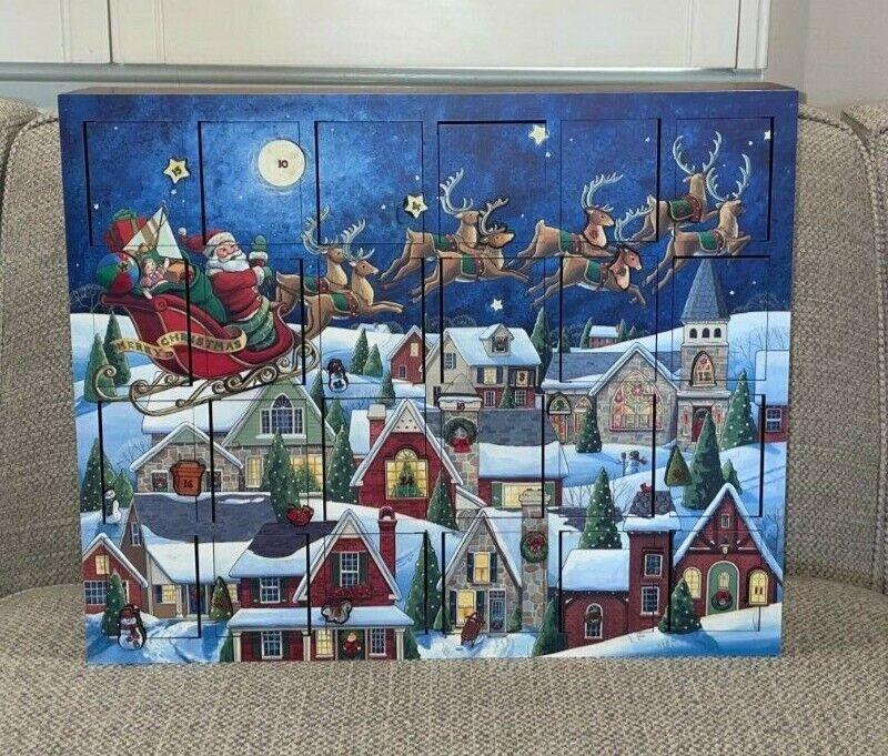 Traditions Byers Choice Santa Sleigh Ride Advent Calendar Box Original Box
