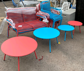 2 tables and 4 chairs Garden Outdoor set £95. Blue or Red. Real Bargai