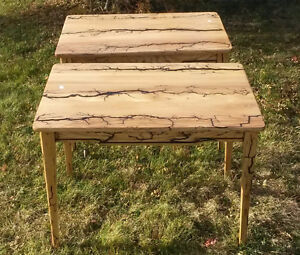 Two seared wooden end tables Prince George British Columbia image 2